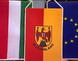 Flaggen Ungarn, EU, Burgenland