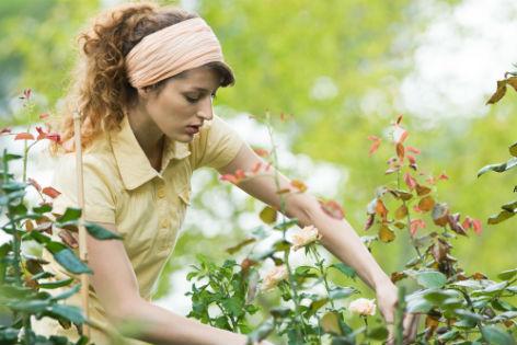 Frau arbeitet im Garten
