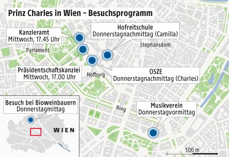 Grafik zeigt die Stationen des Besuchs von Prinz Charles und Ehefrau Camilla in Wien