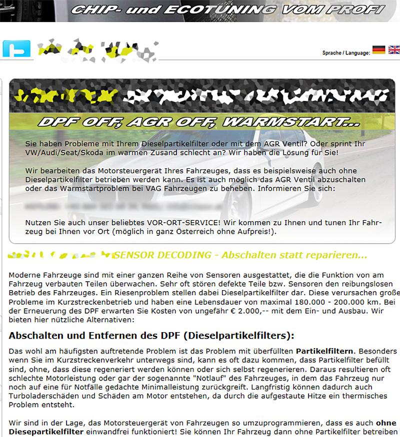 Diesel Partikelfilter Ausbau Website illegal