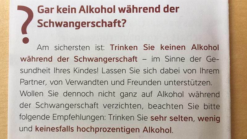 Trinken Schwangerschaft Broschüre Land