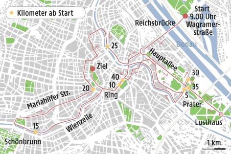 Eine Grafik zeigt die Strecke des Vienna City Marathons 2017