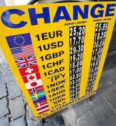 kurz koruny ve směnárně