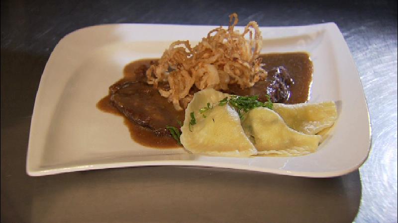 Almo-Rostbraten mit Kartoffel-Nudeln