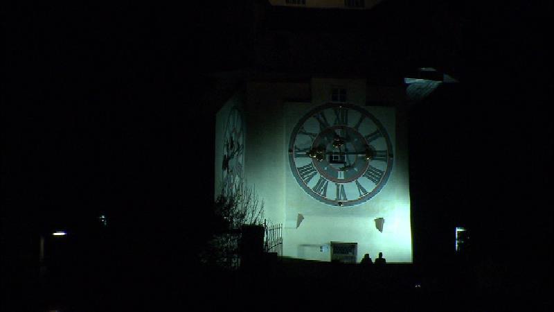 Licht Uhrturm Kunsthaus Dunkelheit Graz