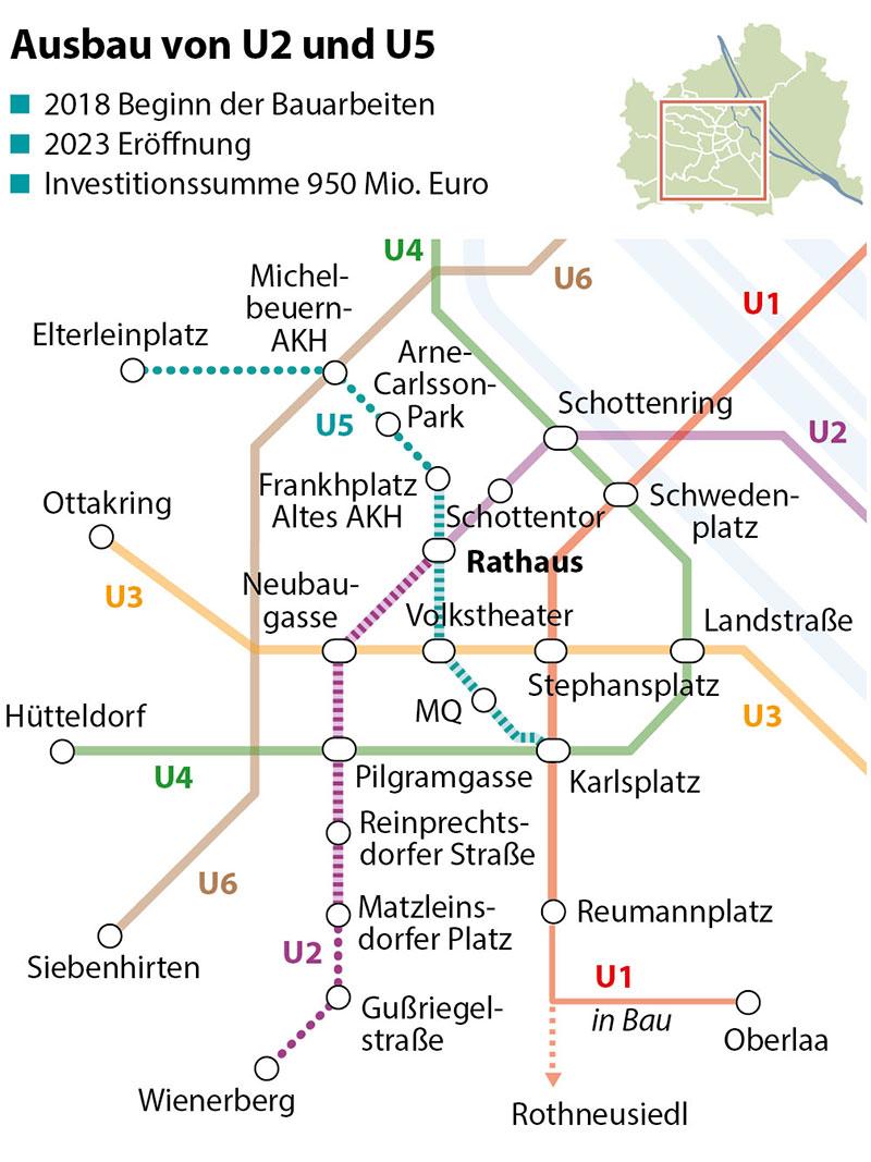 Grafik: Ausbau von U2 und U5 in Wien
