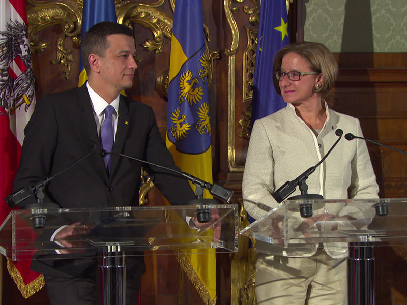 Ministerpräsident Rumänien Grindeanu Mikl-Leitner Treffen
