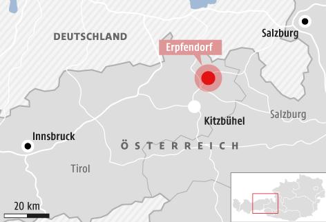 Karte von einem Teil Österreichs