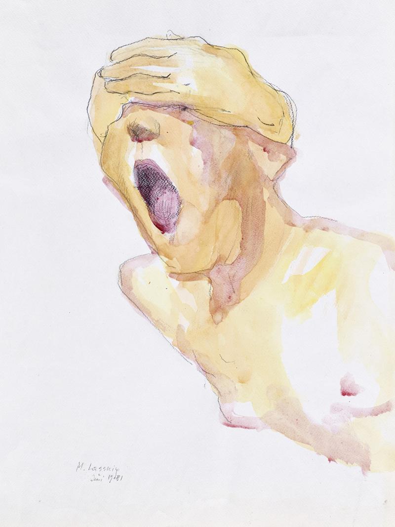 Bild von Frau mit nacktem Oberkörper. Maria Lassnig, 1981
