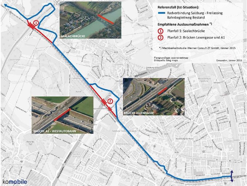 Plan des geplanten Fahrrad Schnellwegs von Salzburg nach Freilassing