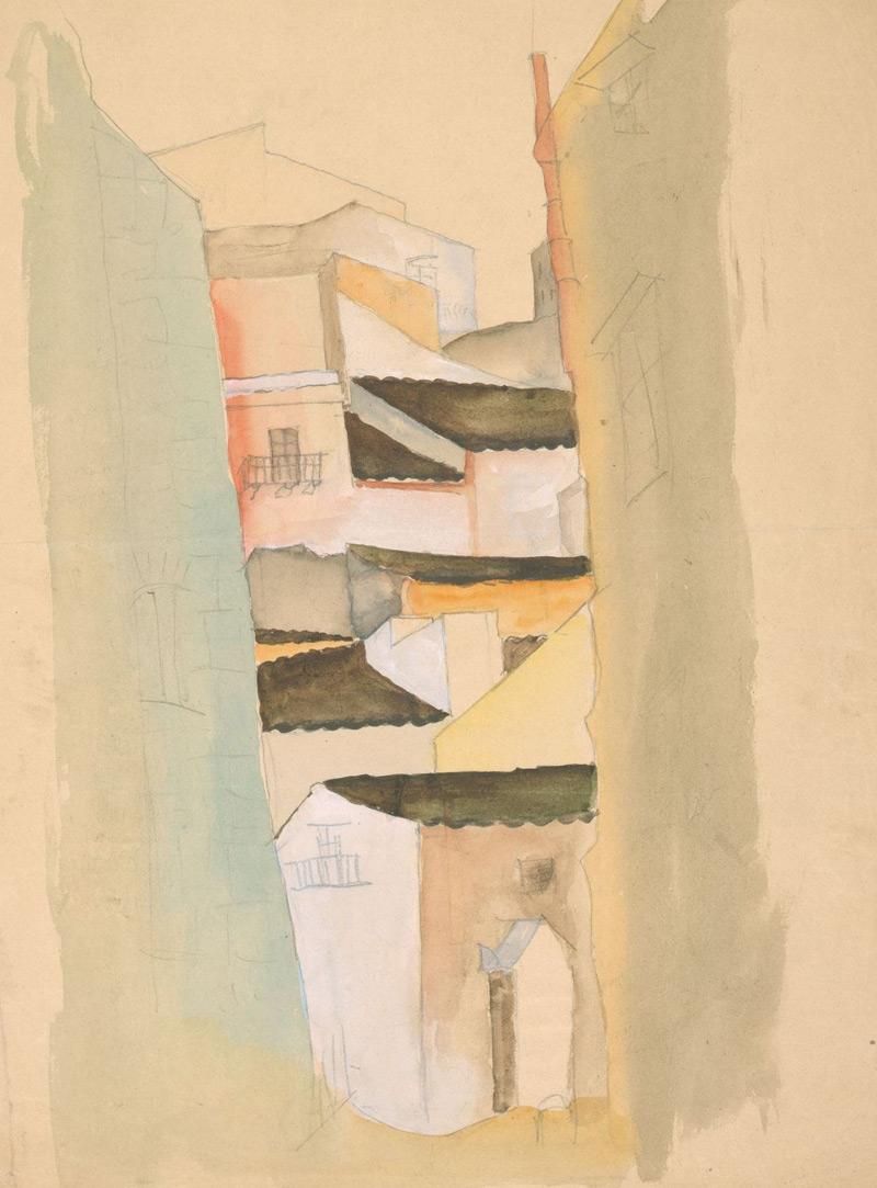 Sepp Maltan, Stadtansicht, 1924, Bleistift und Wasserfarbe