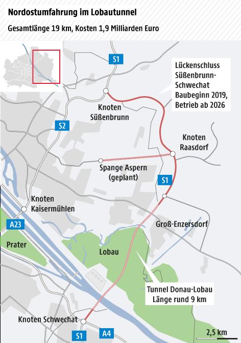 Karte Wien-Ost, geplanter Verlauf der Nordostumfahrung S1