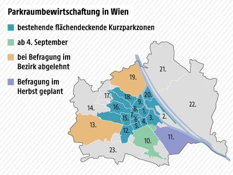Karte Wien, bestehende und künftige Kurzparkzonen