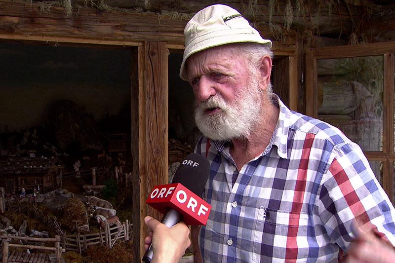 """Georg Gruber - der """"Maurer Schorsch"""" -, Erbauer des Kreuzwegs im Wald oberhalb von Großarl"""
