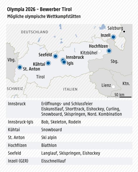 Grafik zeigt eine Karte von Tirol mit möglichen Wettkampfstätten
