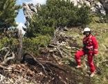 Feuerwehrmann bei abgebranntem Gelände