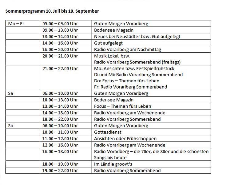 Radio Vorarlberg Sommerprogramm