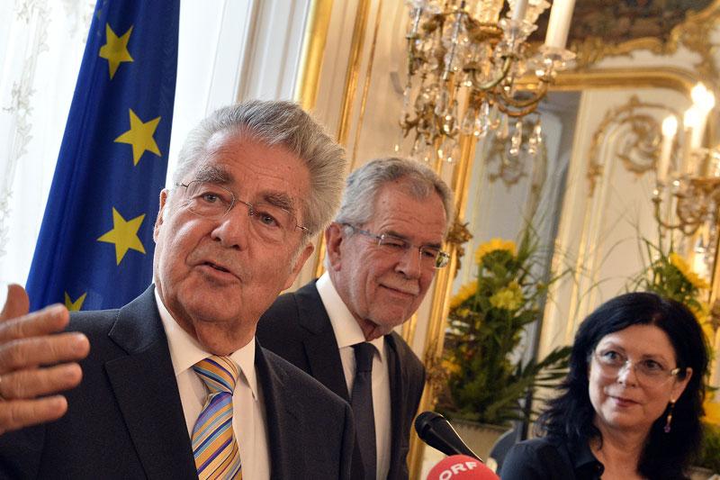 Heinz Fischer, Alexander Van der Bellen, Eva Schlegel