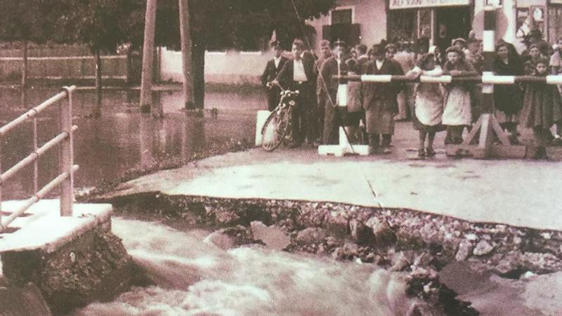 Altes Bild einer Überschwemmung in Oberwart