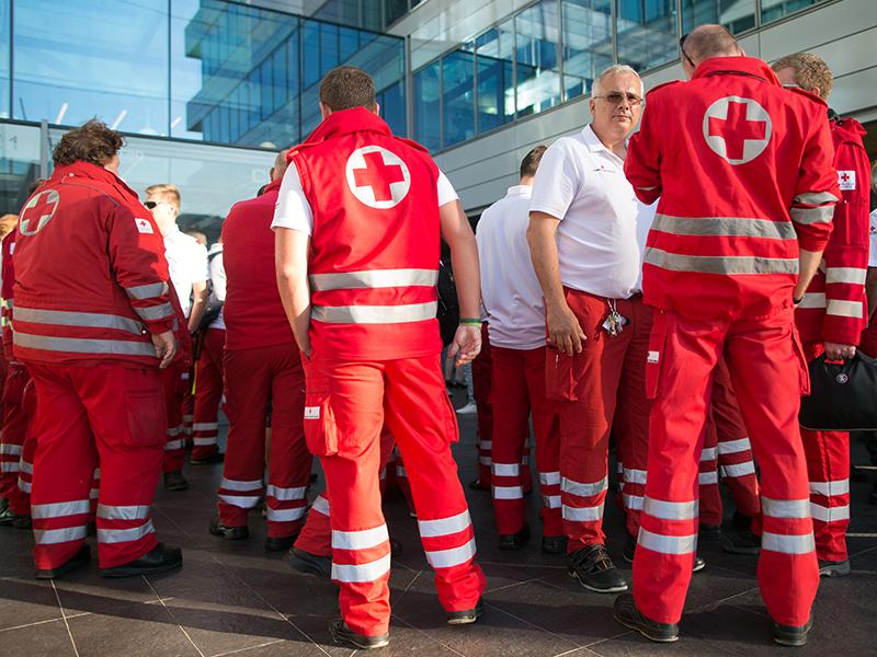 Protestversammlung Sanitäter
