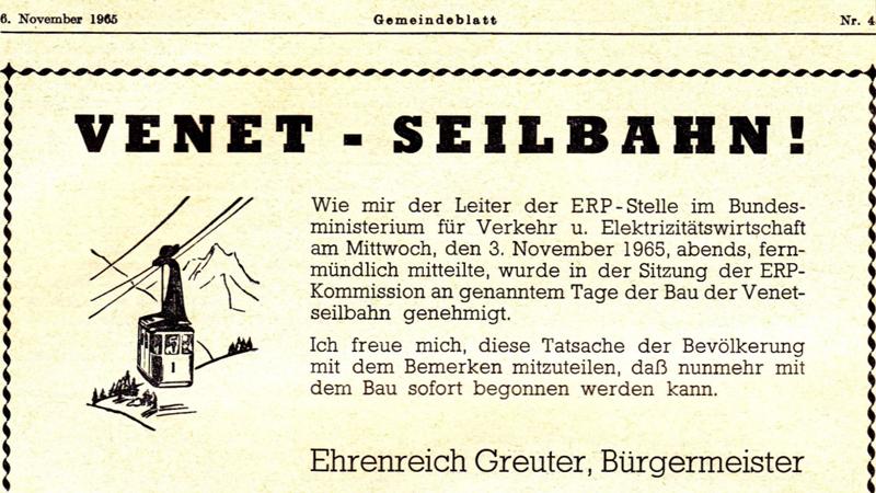 Venetbahn Eröfnung Anzeige Gemeindeblatt