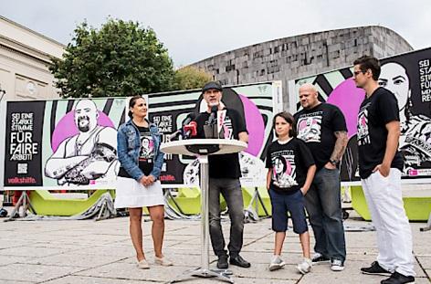 Kampagnen-Präsentation mit Ruzica Milicevic, Volkshilfe-Bundesgeschäftsführer Erich Fenninger, Jimmy Marton-Lindenthal & Reinhard Schiefer