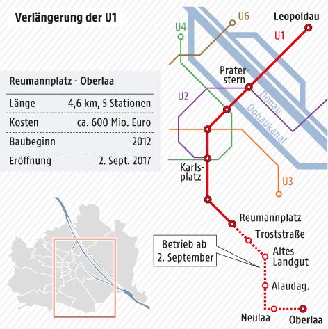 Karte vom Wiener U-Bahn-Netz mit der Verlängerung der U1 nach Oberlaa