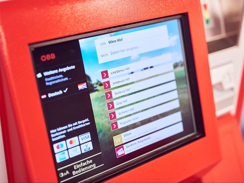 Die neue Benutzeroberfläche an den ÖBB-Ticketautomaten