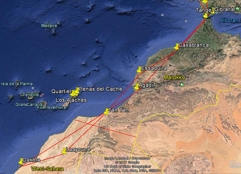 Routenverlauf Afrika - auf den Spuren Exuperys nach Westafrika