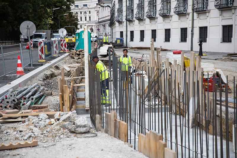 Bauarbeiten auf dem Wiener Ballhausplatz