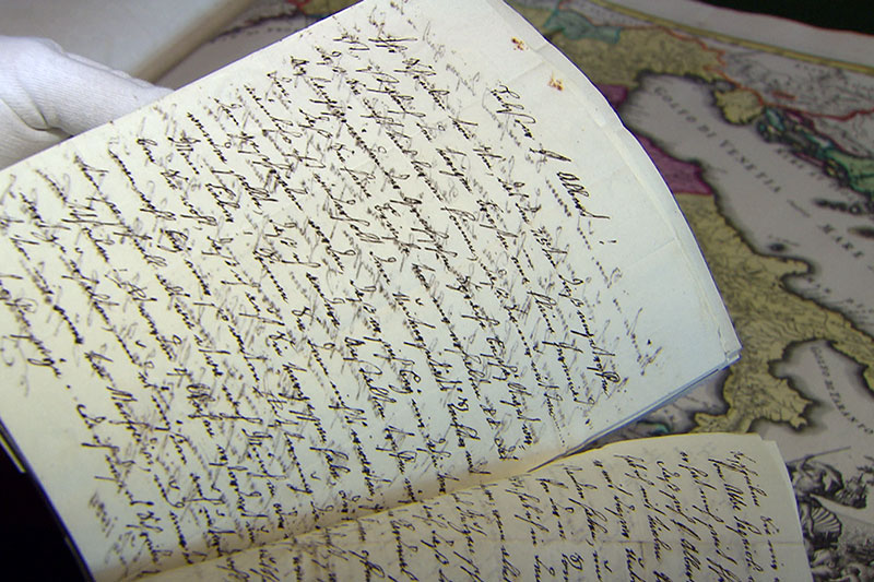 Briefe der Salzburger Mönche aus Italien mit historischer Italienkarte