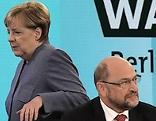 Bundeskanzlerin Angela Merkel (CDU) Martin Schulz (SPD)
