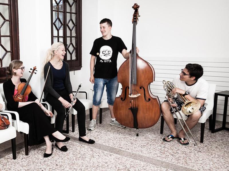 Musiker in der Pause