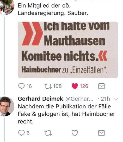 Screenshot zeigt Posting von Gerhard Deimek