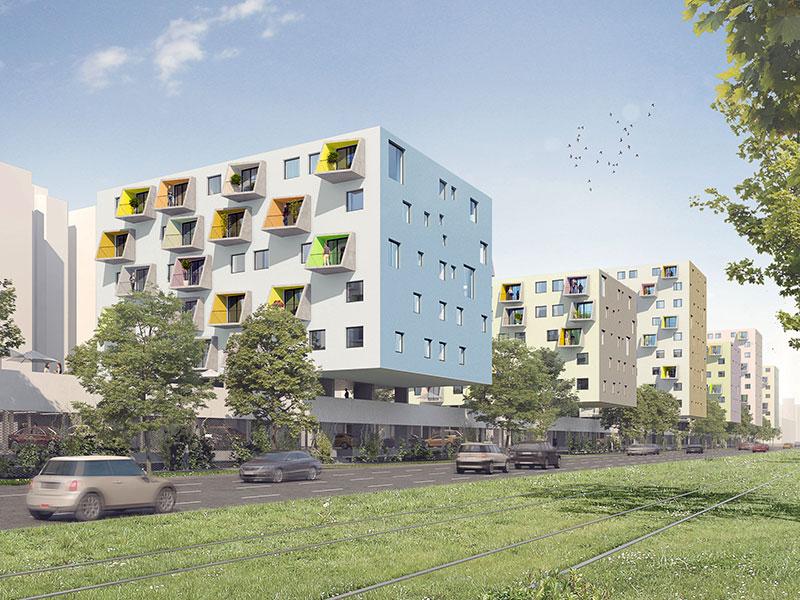 Rendering neuer Gemeindebau Handelskai