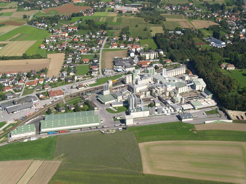 Luftaufnahme der Stärkefabrik Aschach