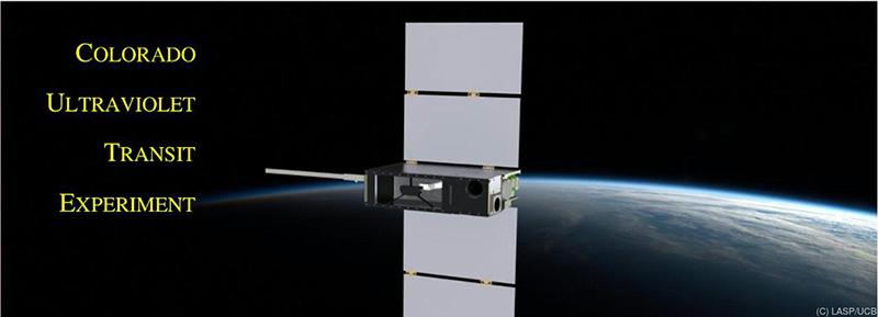 Künstlerische Darstellung des CUTE-Satelliten im Flug