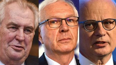Kandidáti zleva: Miloš Zeman, Jiří Drahoš, Michal Horáček