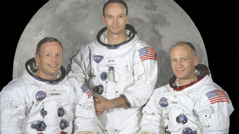 Neil Armstrong, Michael Collins, Buzz Aldrin (v.l.n.r.) Apollo 11