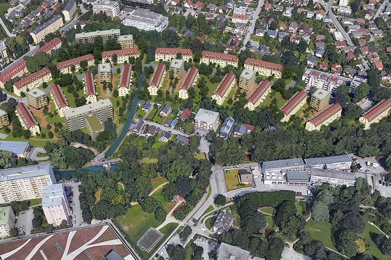 Blick auf die Wohnsiedlung an der General Keyes Straße aus der Luft