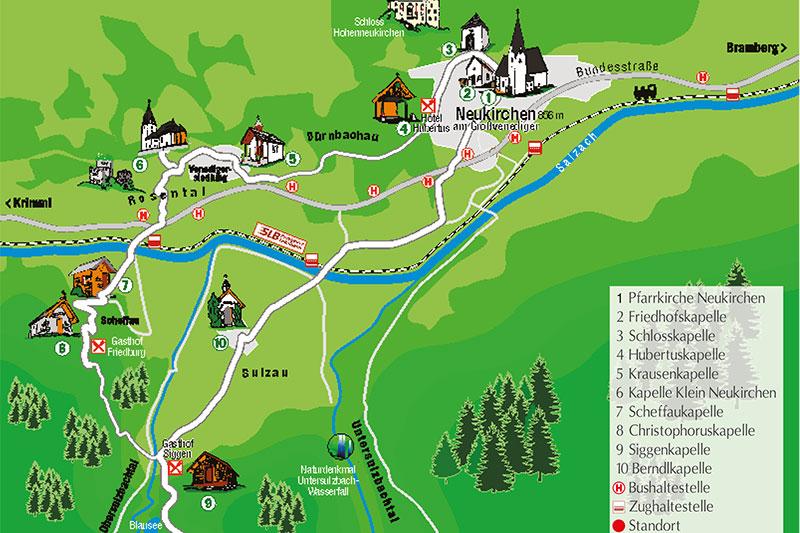Übersichtskarte des Kapellenwegs bei Neukirchen am Großvenediger