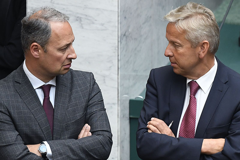 SPÖ-Klubobmann Andreas Schieder (L.) und ÖVP-Klubobmann Reinhold Lopatka im Mai