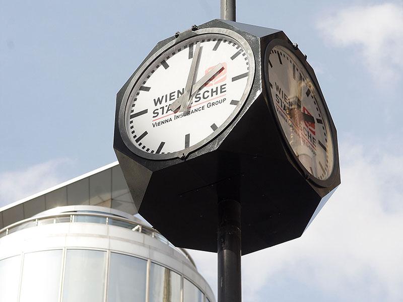 Die Wiener Wuerfeluhr, fotografiert am Donnerstag, 27. Maerz 2008, am Stock-im-Eisen-Platz
