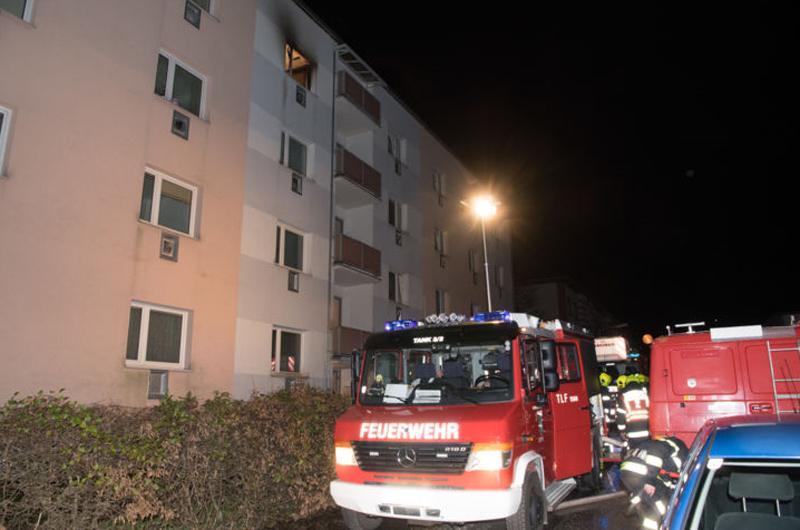 brennende Wohnung in Steyr