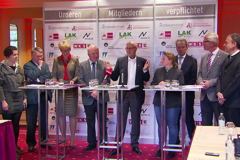 Die Spitzen von neun Kammern und Pflicht Interessensvertretungen bei gemeinsamer Pressekonferenz für die Beibehaltung der Pflichtmitgliedschaft