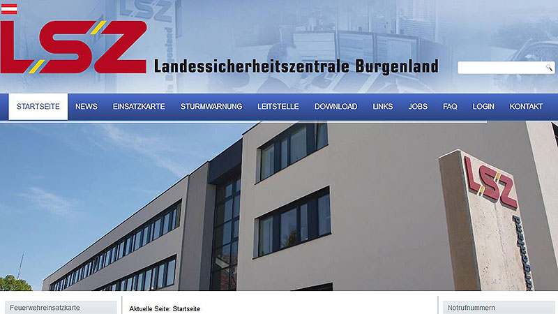 Screenshot Homepage der Landessicherheitszentrale