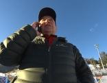Marcello Varallo telefonierend im Zielgelände von Alta Badia