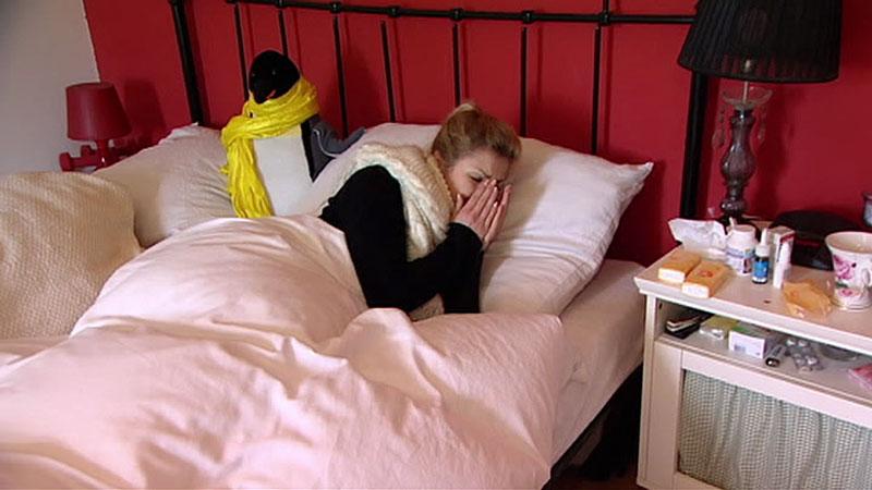 Grippe, im Bett liegen