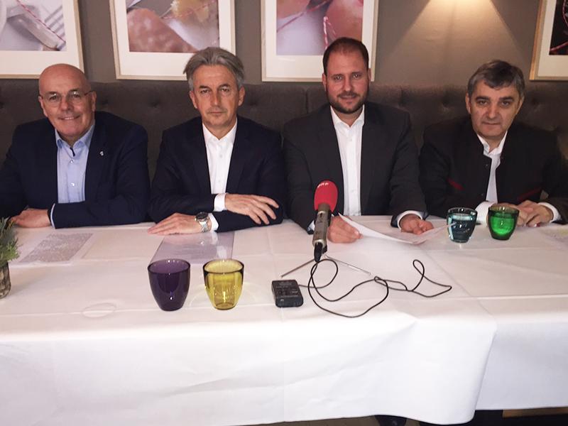 Georg Rosner, Alois Mondschein, Klubobmann Christian Sagartz, Güssing Bezirksparteiobmann Walter Temmel