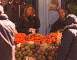 Obststand auf dem Bozner Obstmarkt